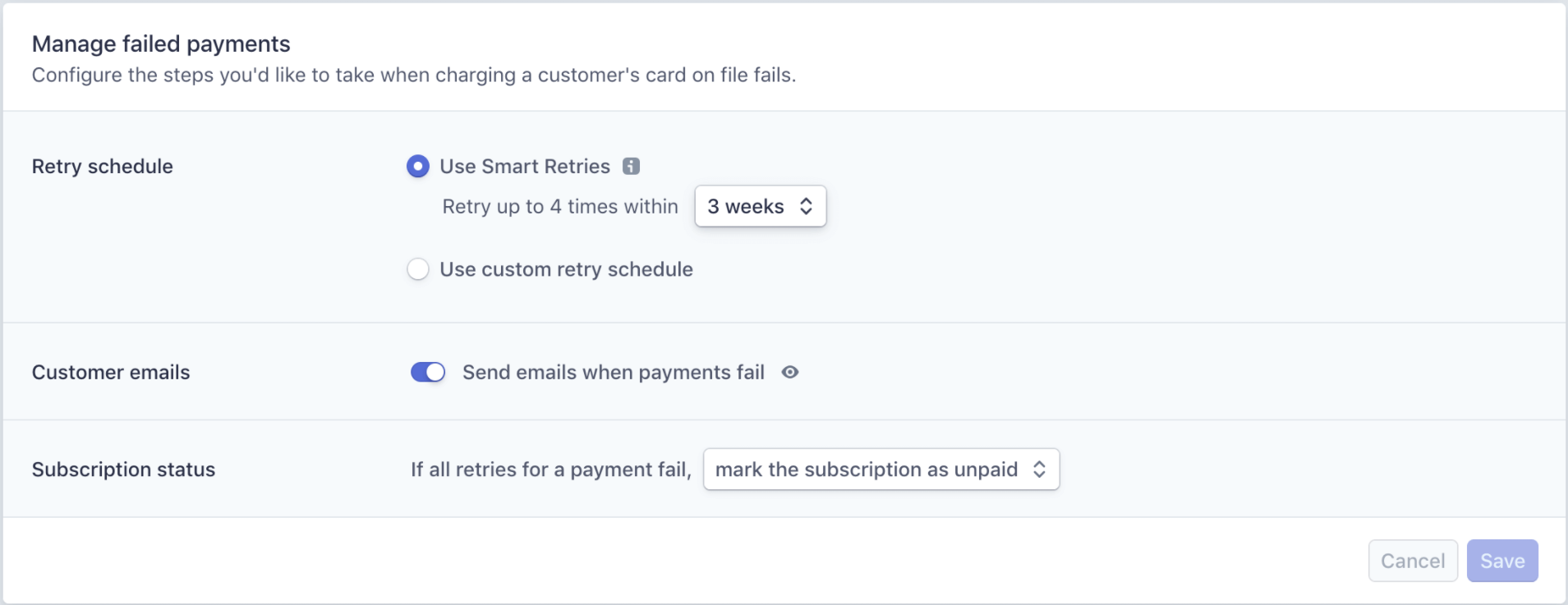 Failed recurring payments